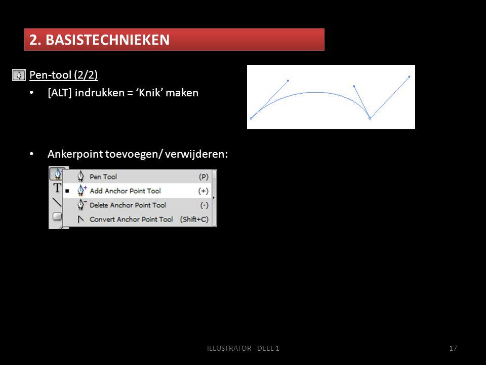 2. BASISTECHNIEKEN Pen-tool (2/2) [ALT] indrukken = 'Knik' maken